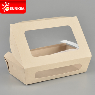 Bamboo fibre bamboo pulp paper salad box with 2 windows
