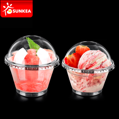 Clear Disposable Plastic Ice Cream / Yogurt Cup