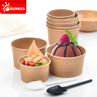 Kraft Paper Ice Cream Cup with Dome Plastic Lid