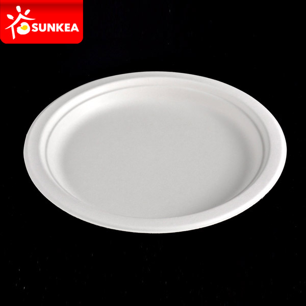Compostable White Sugarcane Pulp / Bagasse Plate