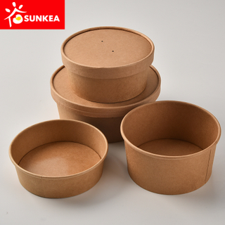 Biodegradable Eco friendly Kraft Salad Paper Bowl with Paper Lid
