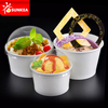 Custom logo ice cream paper cup with plastic lid