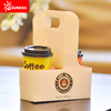 Disposable Logo Printed Paper Coffee Cup Carrier with Handle
