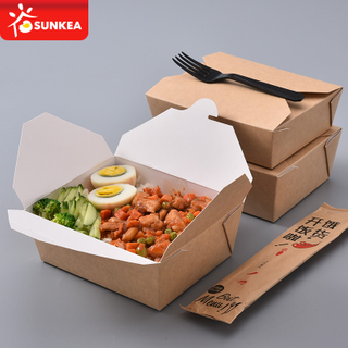 White clay coating inside kraft outside paper lunch food takeaway container