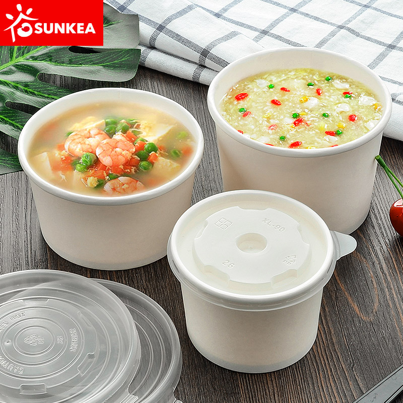 Disposable paper soup cup with plastic lid