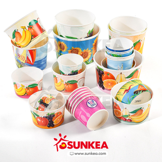 Sunkea Custom logo food Container paper ice cream cup