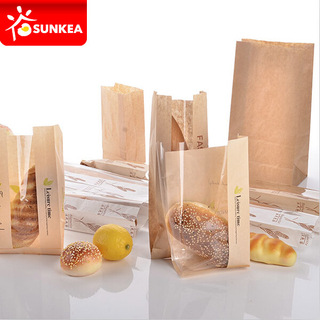 Brown Kraft Food Packaging Paper Bags with Window