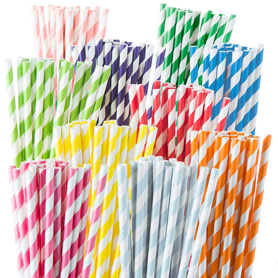 Disposable biodegradable printed striped paper drinking straws