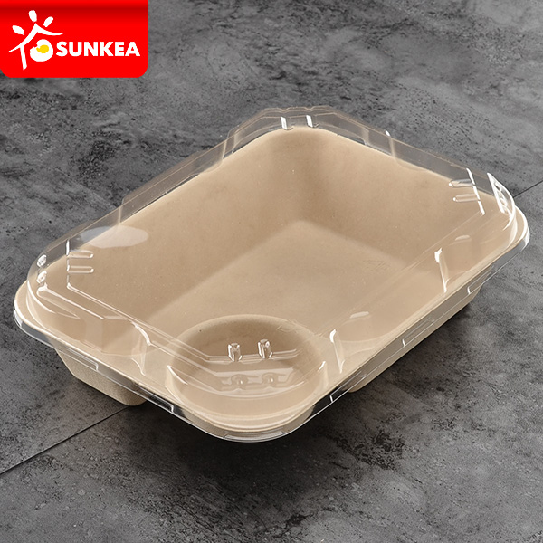 2 compartment biodegradable wheat straw pulp food box with lid