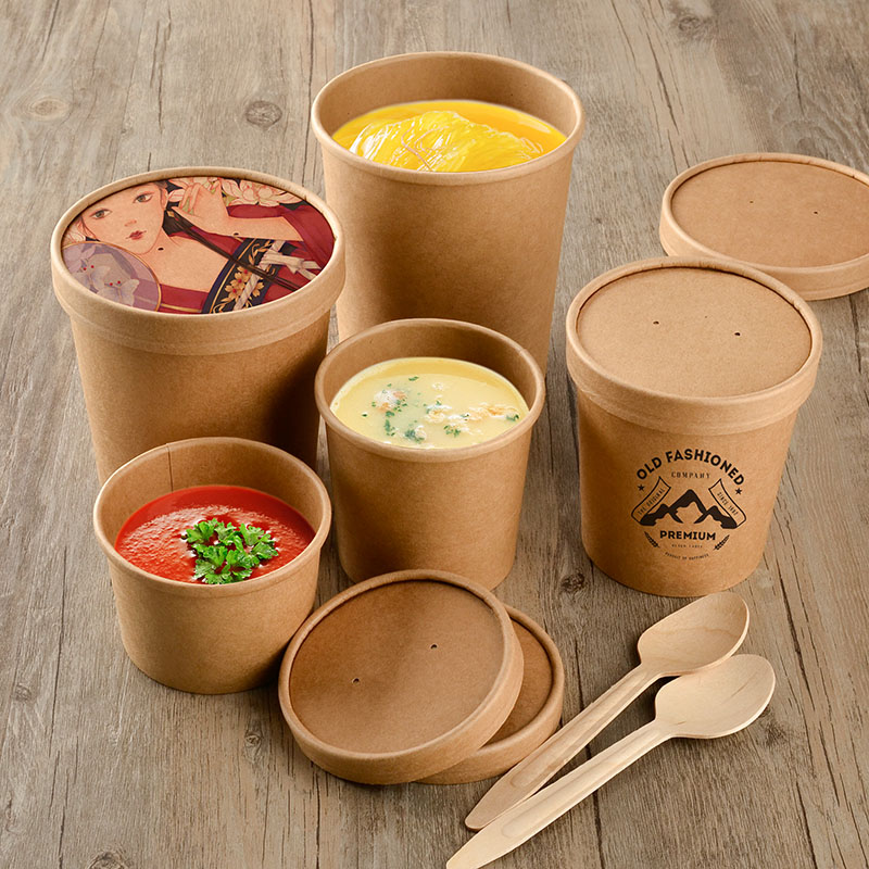 Custom Printed Disposable Hot Soup Bowls, Paper Soup Cup