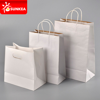 White Kraft Paper Bag with Handle