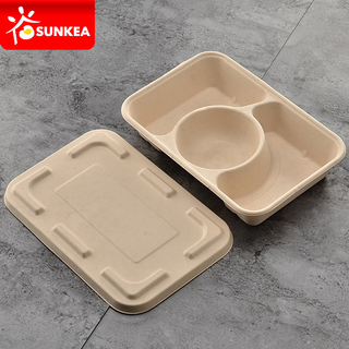 3 compartment biodegradable takeaway food box with lid