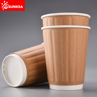 Heat-insulated Double Wall Kraft Paper Cup with cap lid cover