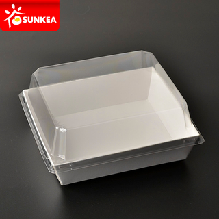 White Sushi Paper Tray with Plastic Lid